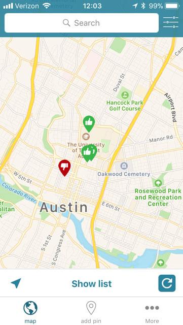 screenshot showing 4 map pins