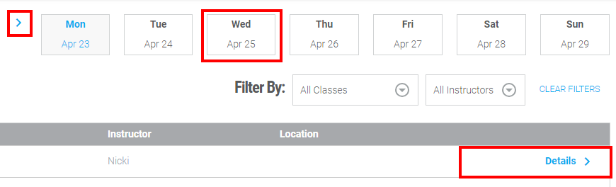 screenshot of the class schedule page with multiple areas highlighted