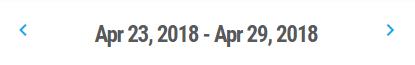 screenshot showing arrows next to the week April 23, 2018 - April 29, 2018