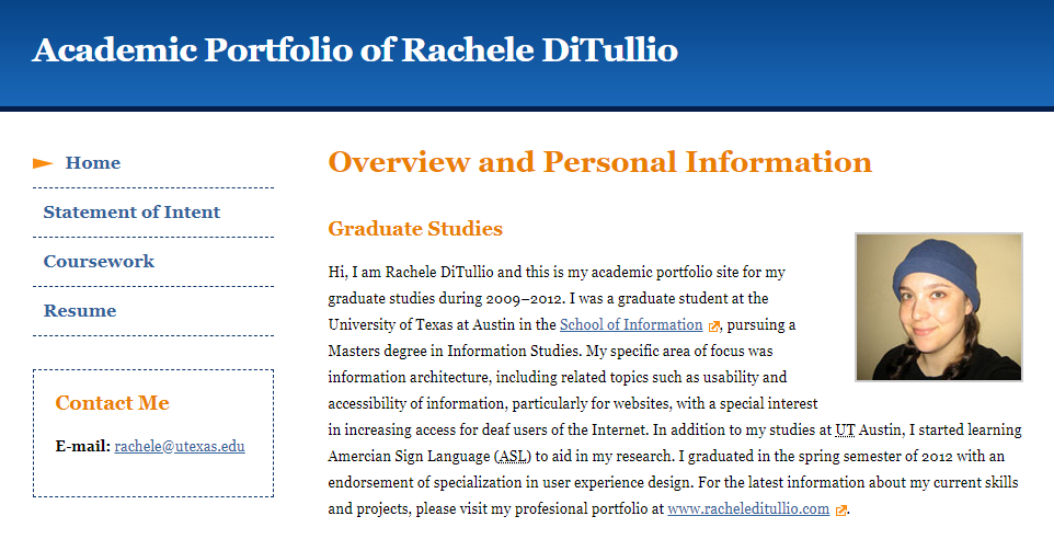 screenshot of the home page of my academic portfolio website from grad school
