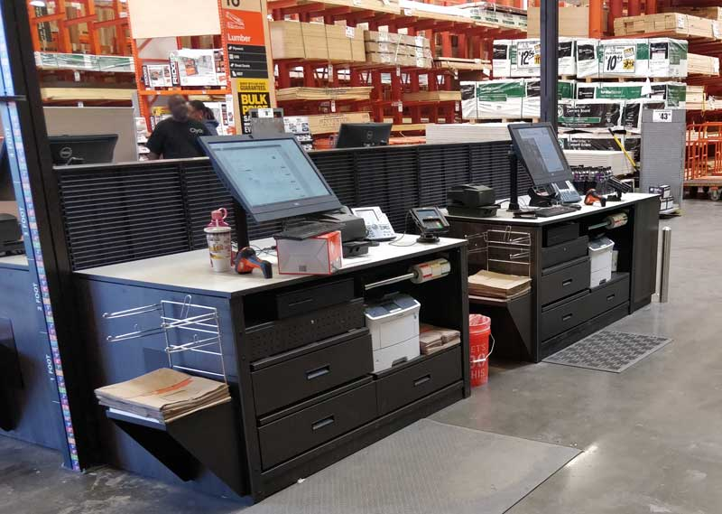 photo of checkout registers with stacks of paper bags on the sides