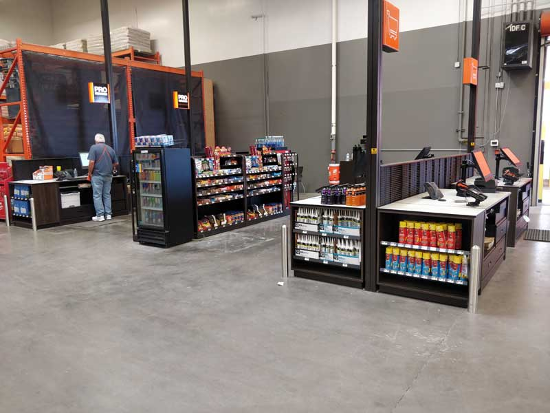 photo of a checkout area in Home Depot