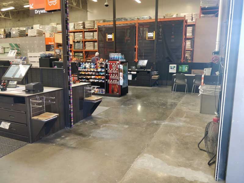 photo of the space between the end of the register aisle and the exit