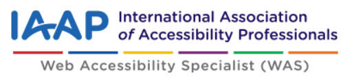 International Association of Accessibilitiy Professionals - Web Accessibility Specialist logo