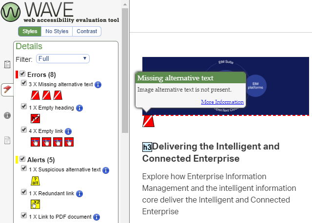 screenshot of the WAVE tool