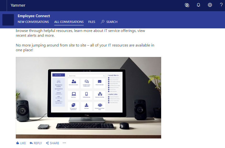 screenshot of my Yammer feed with an uploaded image