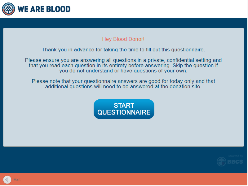 screenshot of the questionnaire start page with overview text and a large button that reads start questionnaire.