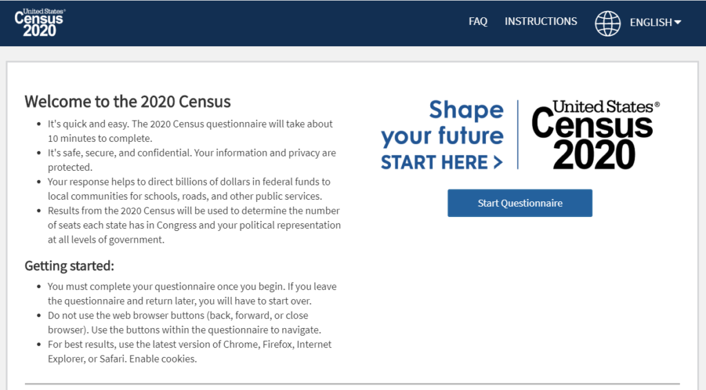 screen shot of the Census 2020 homepage