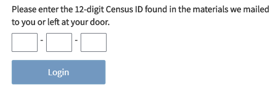 screen shot of the census ID form fields and login button.