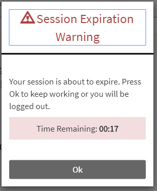 screen shot of a session expiration warning with 17 seconds remaining.