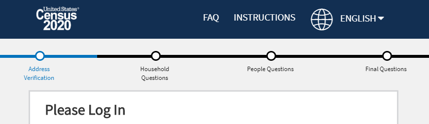 screen shot of the census 2020 status bar starting with address verification, household questions, people questions, then final questions.