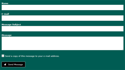 a contact form with fields for name, email, message subject, message and a checkbox to send yourself a copy, and a send message button