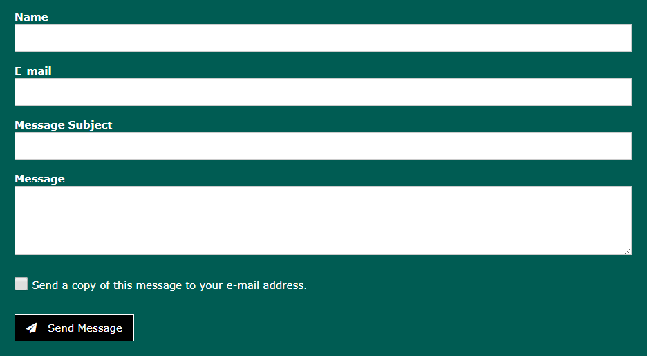 screen shot of a contact form with fields for name, email, message subject, message and a check box to send a copy to yourself, then a send message button.