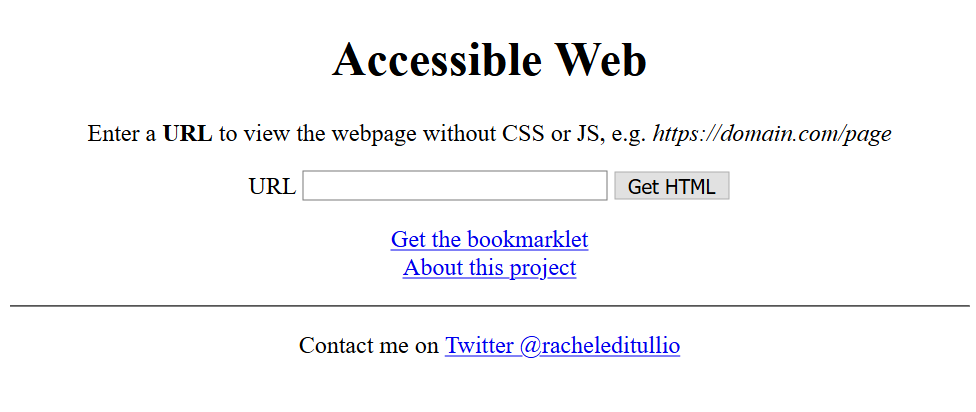 Accessible Web home page with a form field for entering a URL