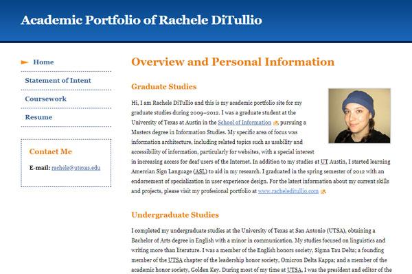 screen shot of an academic portfolio website homepage