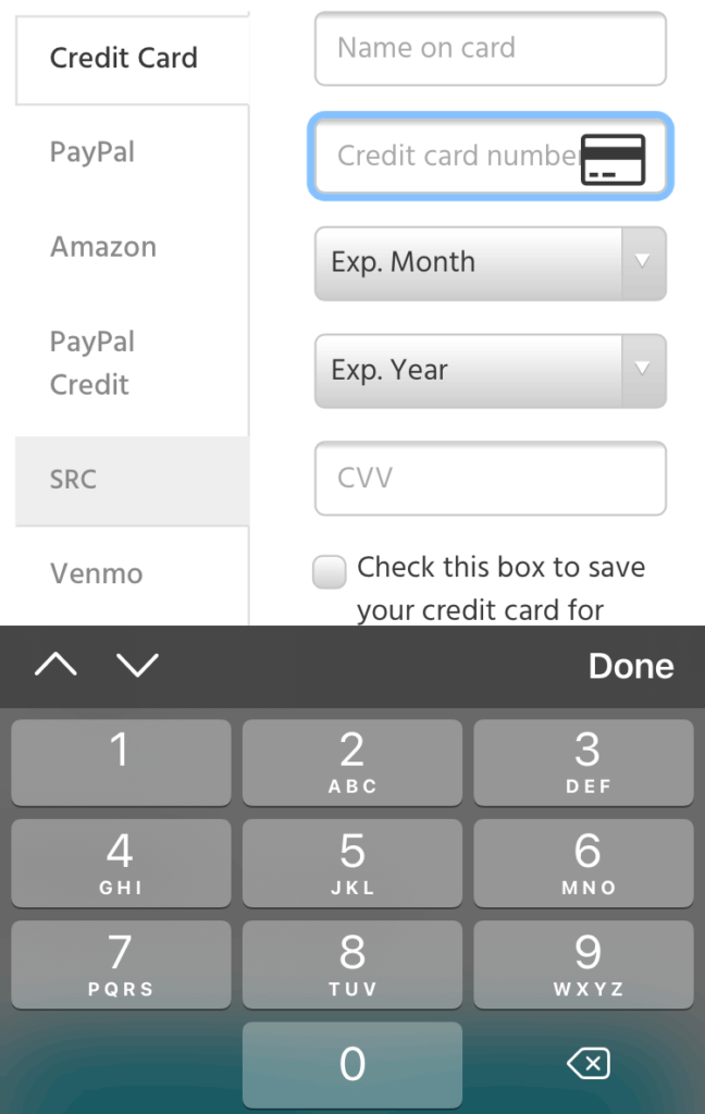 screen shot of a payment screen with credit card number field in focus and numbers keyboard displayed on screen
