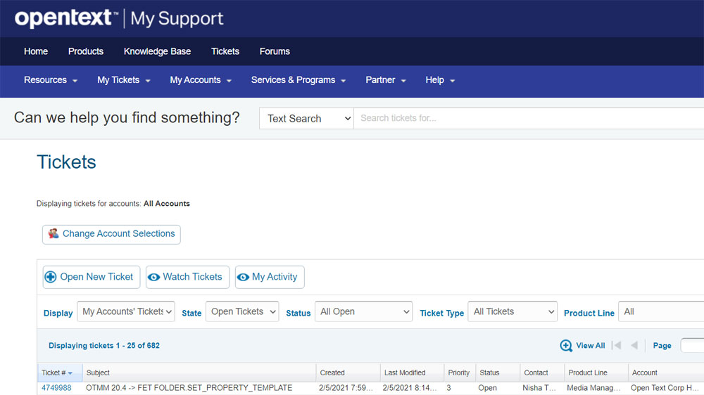 a screenshot of the OpenText support ticket page with a grid of opened tickets.