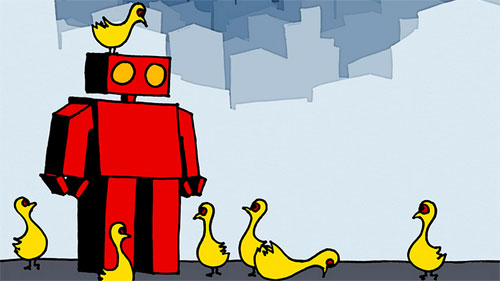 A boxy, red cartoon robot is surround by small, yellow birds. one sits on its head.