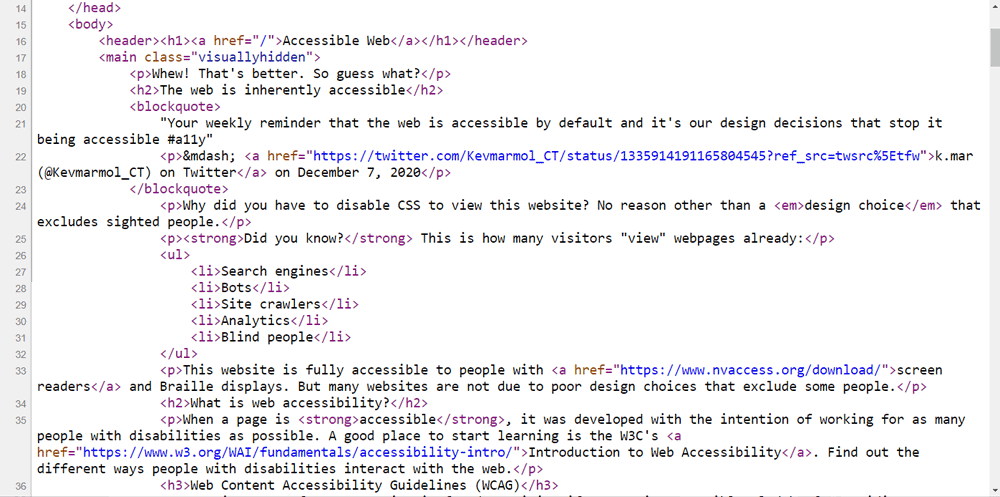 a screenshot of view source on accessibleweb.net about page
