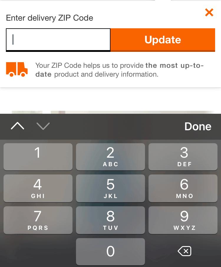 a zip code input displays the numbers keyboard