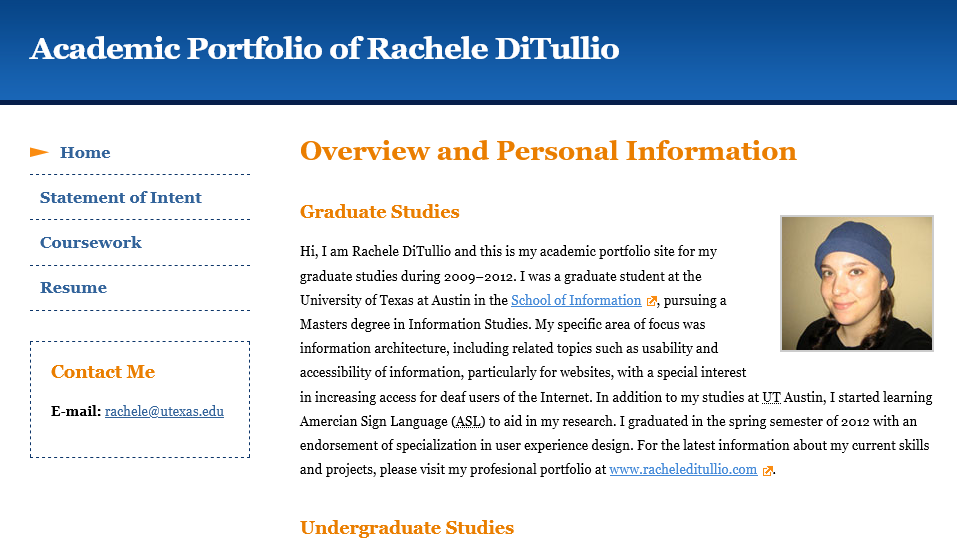 screenshot of my academic portfolio home page.