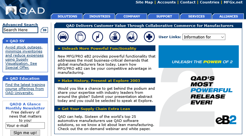 screenshot of the QAD software website hoe page with a left rail and top tabbed navigation.