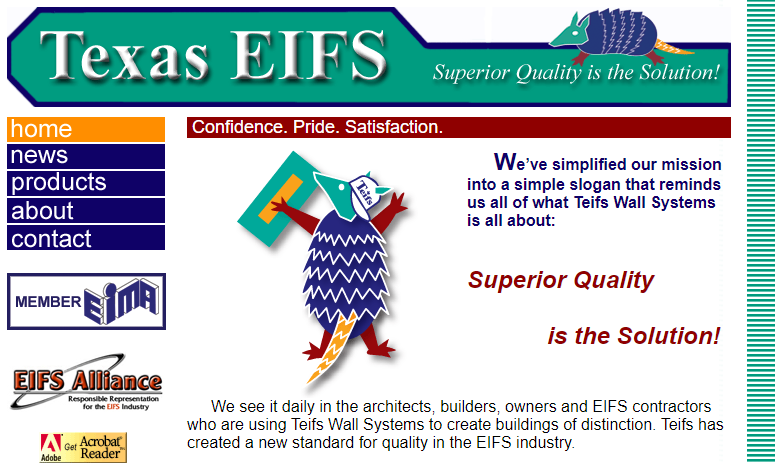 screenshot of the Texas EIFS homepage circa 2000. There are several images without alt text.
